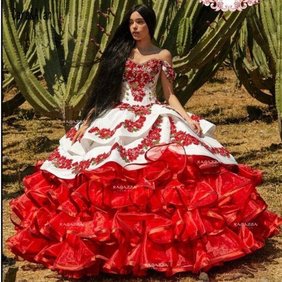 Ruffled Floral Charro Quinceanera Dresses Off Shoulder Puffy Skirt Lace Embroidery Princess Sweet 16 Girls Masquerade Prom Gowns