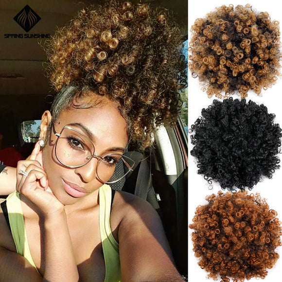 High Puff Afro Curly Synthetic Hair Bun Extensions by PickAProduct