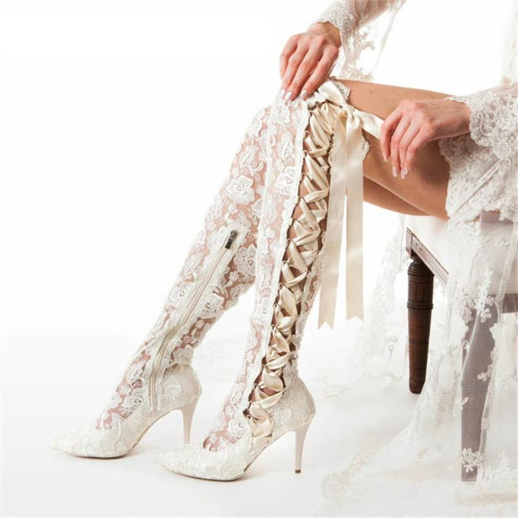 Women White Lace-Up Knee High Wedding Pointed Toe Shoe by PickAProduct
