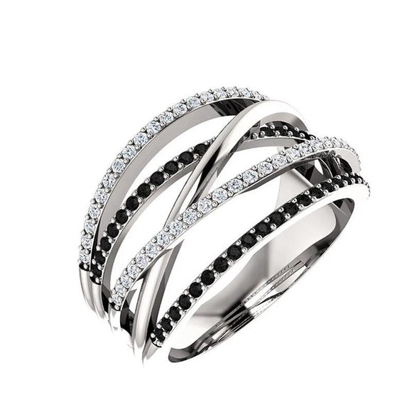 Silver Plated White Black Water Crystal Wedding Band