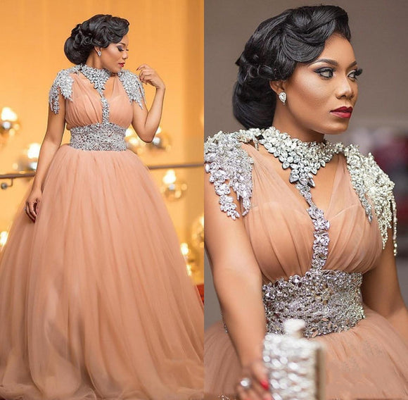 Luxury African Crystal Beaded Tulle A-Line Prom Dress by PickAProduct