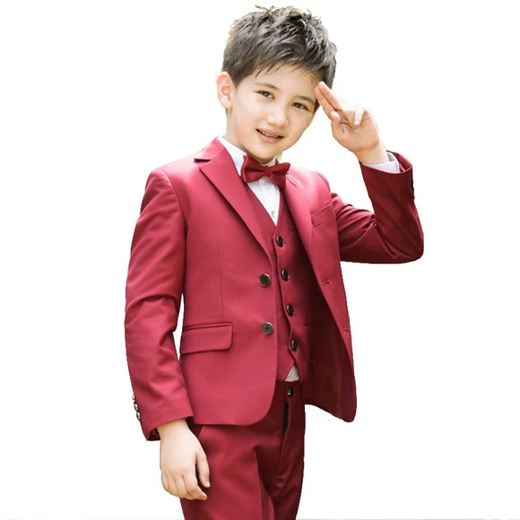 Formal Boys Red Wedding 2Pce/4Pce/5Pce Suit Sets - little-darling-fashion-online