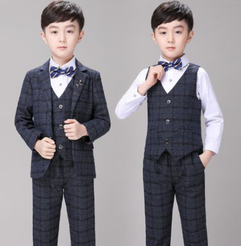 Kids Navy Blue Plaid Wedding Blazer Suits by PickAProduct