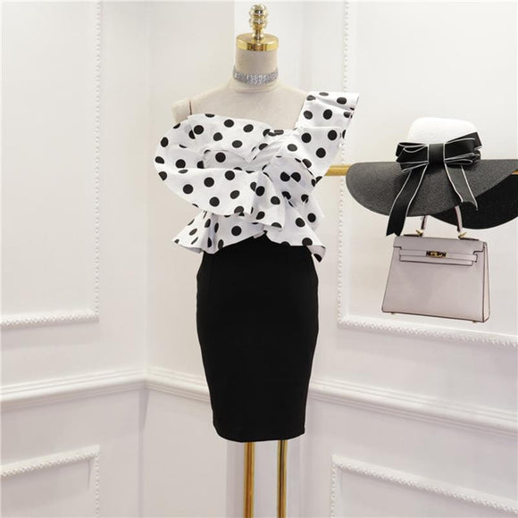 Runway Black and White Polka Dot Skirt Set by Pick a Product