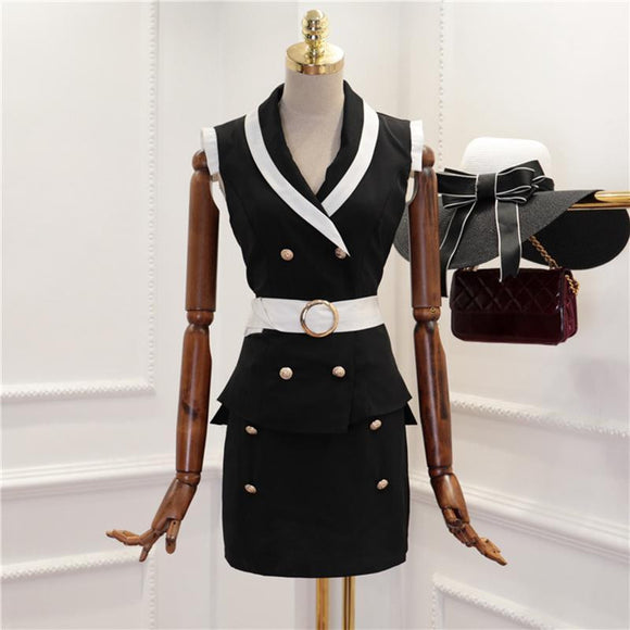 Women's Sleeveless Notched Collar Skirt Set by Pick a Product
