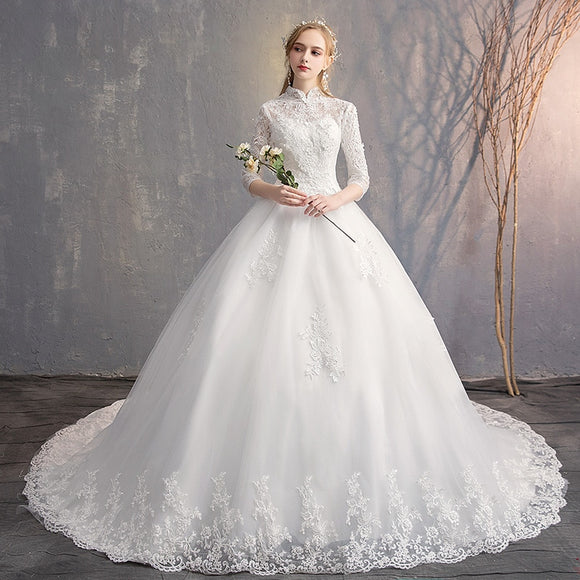 Elegant High Neck Lace Appliques Vintage Bridal Gown - little-darling-fashion-online