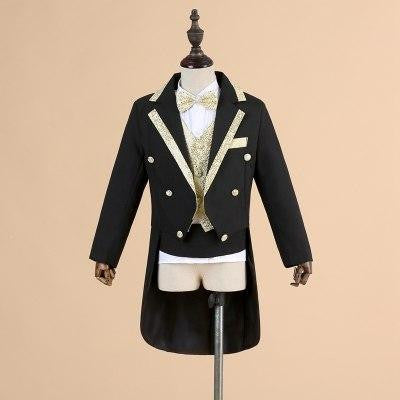 High-Quality Formal Boy 5 Pieces Set Black White Tuxedo - little-darling-fashion-online