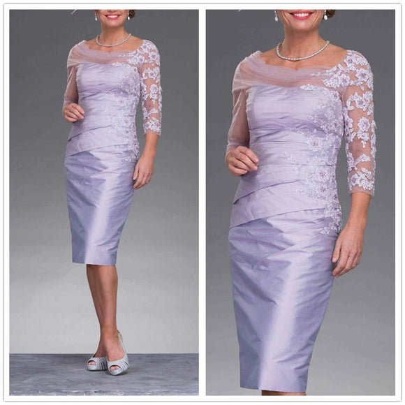 Half Sleeves Light Purple Mother of the Bride Dress - little-darling-fashion-online