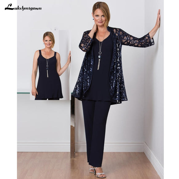 Modest Mother of the Bride Pant Set with Lace Jacket - little-darling-fashion-online