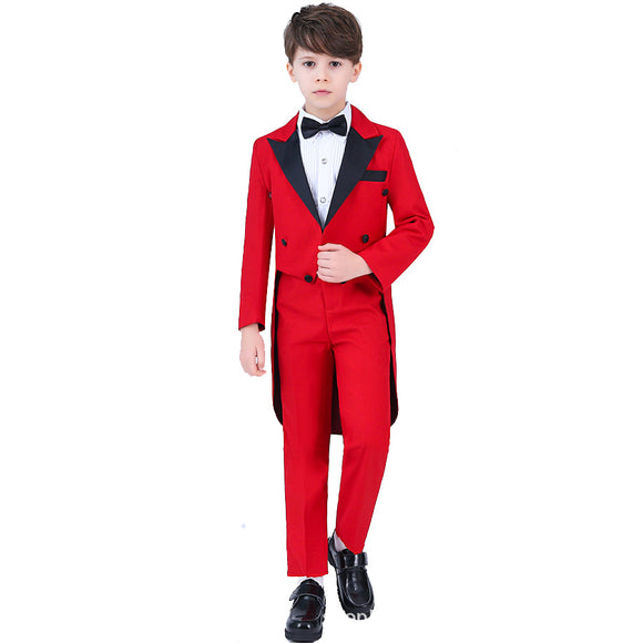 Jackets+Vest+Shirt+Pants Boys Four Piece Tuxedo Set - little-darling-fashion-online