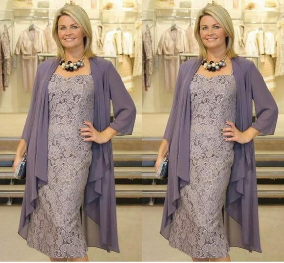 Chiffon Jacket Lace Mother Of The Bride Dresses - little-darling-fashion-online