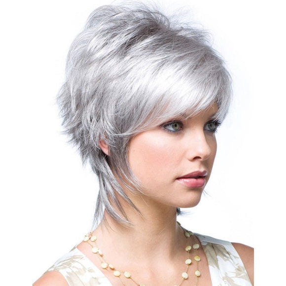 Women's Silver-White Synthetic Short Wig with Bangs - little-darling-fashion-online