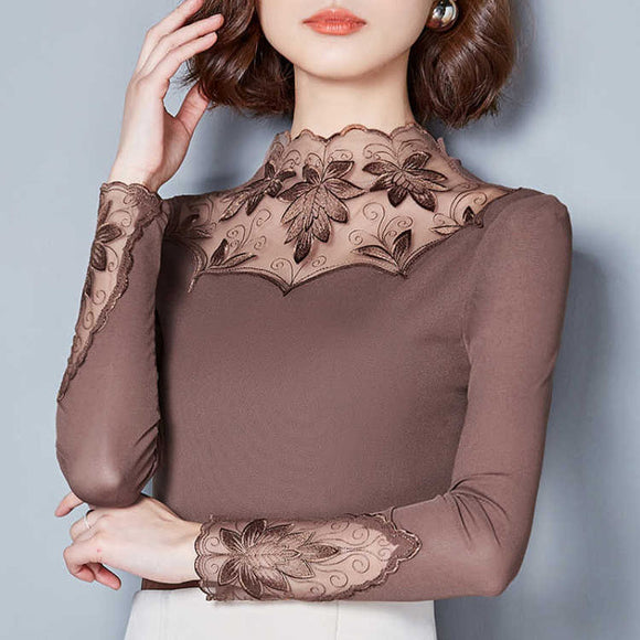 Women's Hollow Out Spring Autumn Casual Lace Blouses by PickAProduct