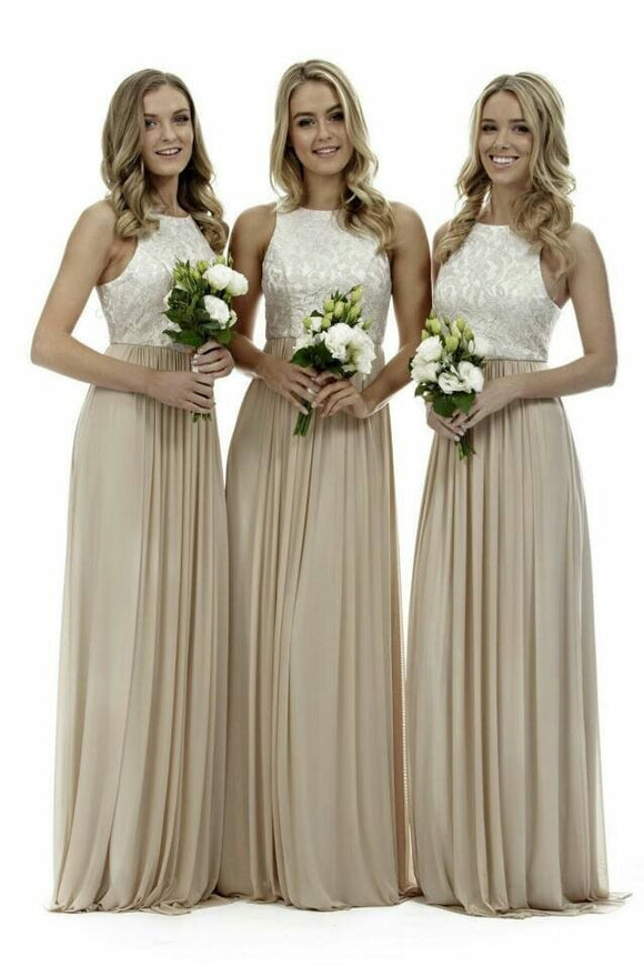 Elegant High Neck Champagne Long Bridesmaid Dresses by PickAProduct