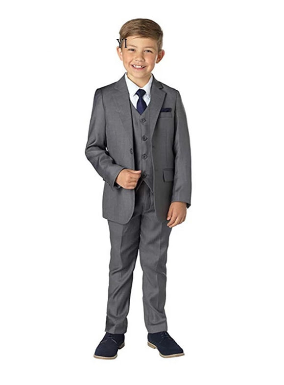 Boys' Grey/Blue Slim Fit Notched Collar 4 Piece Suit - little-darling-fashion-online