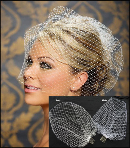 White Ivory Black Bridal Net Birdcage Veils by PickAProduct
