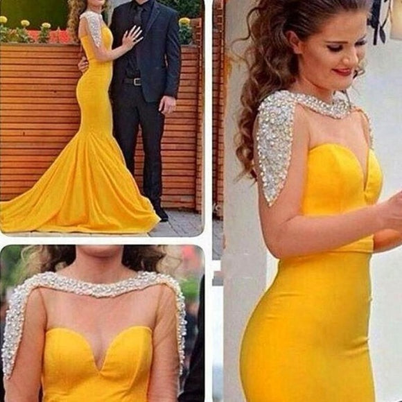 Beaded Yellow Satin Sheer Mermaid Long Evening Dress - little-darling-fashion-online