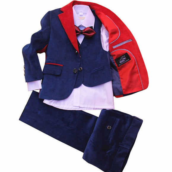 Boys Blue Corduroy Formal Suit 4 Pieces Suit Set - little-darling-fashion-online