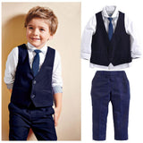 2019 Kids Baby Boys Tuxedo Suit Blazers Shirt Waistcoat Tie Pants Formal Outfits Clothes - little-darling-fashion-online
