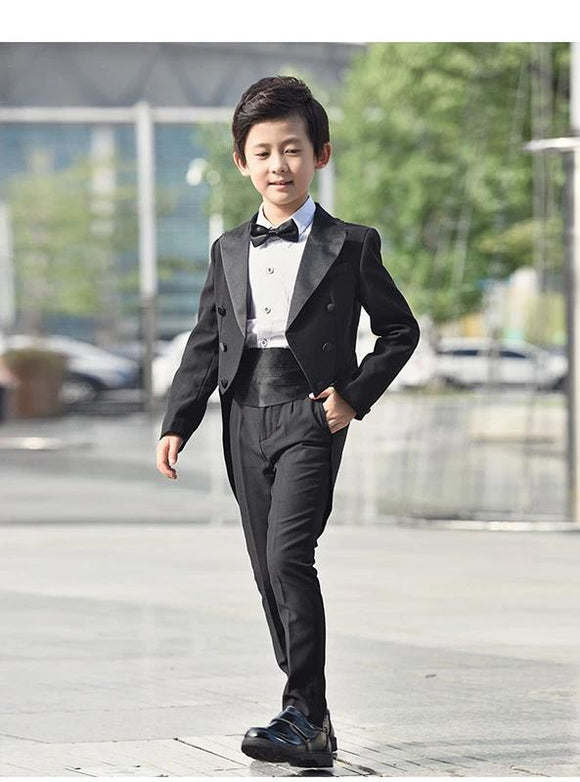 Formal Boys Black 5 Piece Tuxedo for Wedding Baptism by PickAproduct
