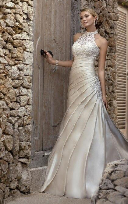 Halter Neck Satin Pleat Vestido De Novia Bridal Gown - little-darling-fashion-online