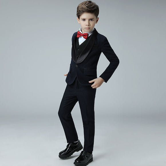 Boys Classic Black 5 Piece Suits for Weddings - little-darling-fashion-online