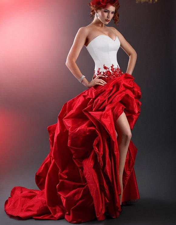 Taffeta Strapless Vintage White and Red Prom Dress - little-darling-fashion-online