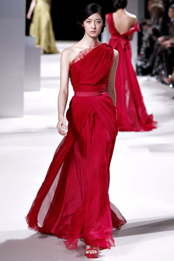 Red One-Shoulder Court Train Chiffon Prom Dress - little-darling-fashion-online