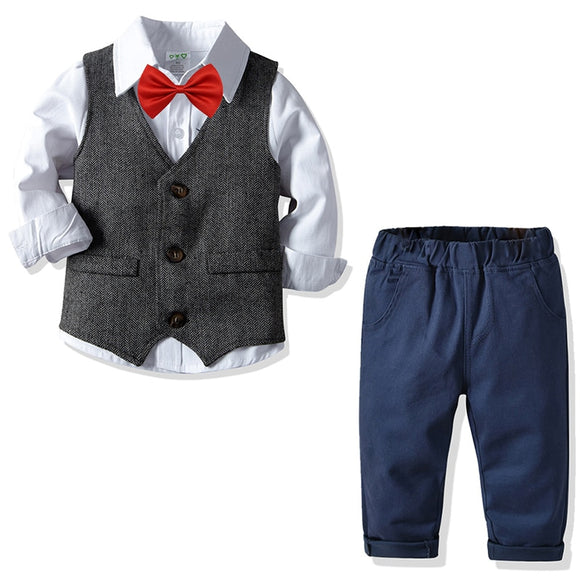 Spring Autumn Boys Clothing Suits Shirt Vest Pants