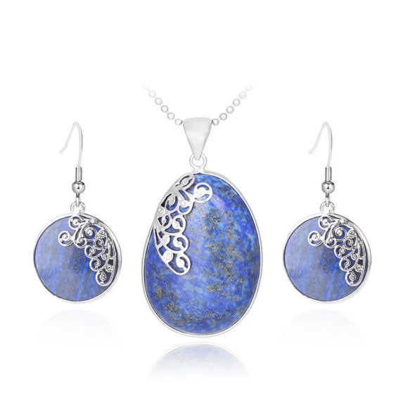 Chic Natural Stone Blue Jewelry Sets for Girls - little-darling-fashion-online