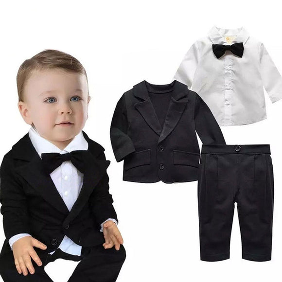 Baby Boys Blazer Set Jacket+Bow Tie+Shirt+Pants - little-darling-fashion-online
