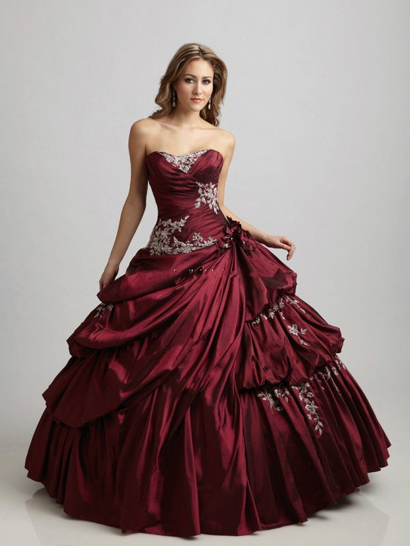 Vintage Gothic Burgundy Sweetheart Quinceanera Gowns - little-darling-fashion-online