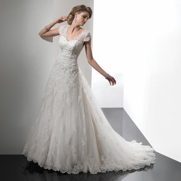 Strapless Crystal Beads Sweetheart Lace Bridal Dress - little-darling-fashion-online