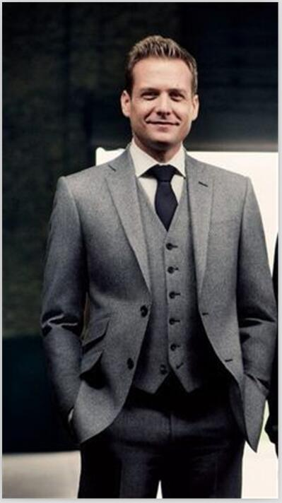 Formal 3 Piece Grey Tweed Wedding Work Suits for Men