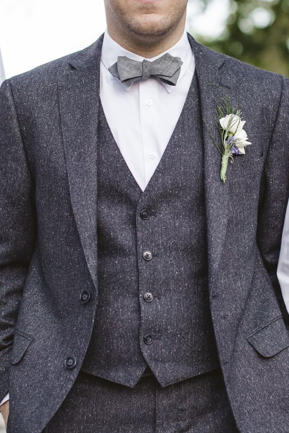 Formal Grey Men's Tweed Business/Wedding Suits