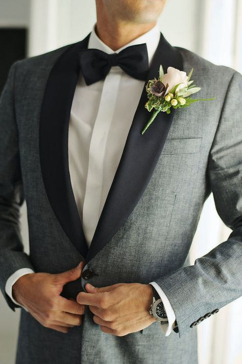 Light Grey Black Lapel Men Suit Jacket and Pants