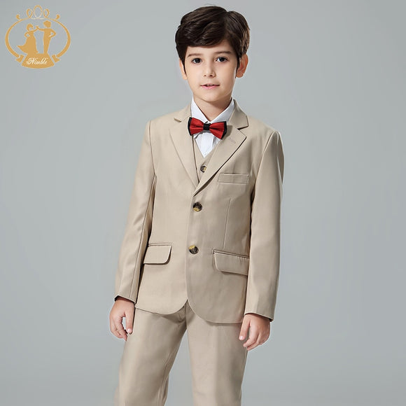 Boys Formal Khaki 3 Piece Suit (Jacket+Vest+Pants) - little-darling-fashion-online
