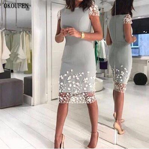 Silver Gray Short Sleeves Mother Of The Bride Dress - little-darling-fashion-online