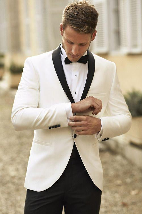 Ivory and Black Pants Men's Suit (Jacket+Pants+Tie) - little-darling-fashion-online