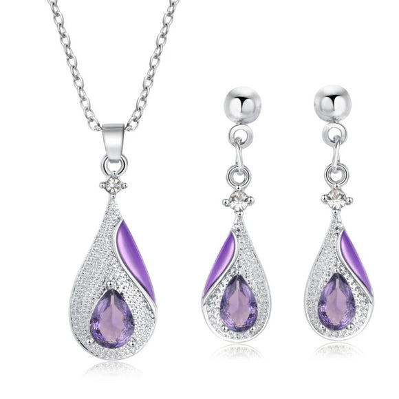 Girls Silver Plated Water Drop Necklace Earrings Set - little-darling-fashion-online