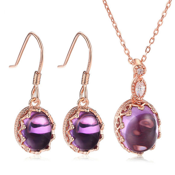 Amethyst Natural Gemstone Silver Jewelry Sets - little-darling-fashion-online
