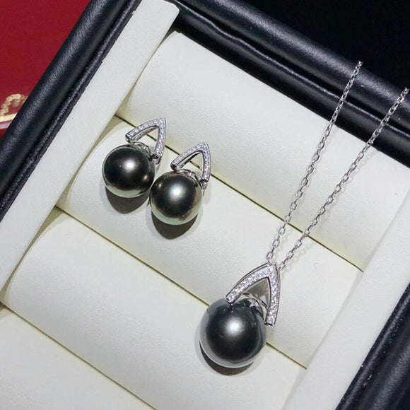 10MM White Black Shell Pearl 45CM Jewelry Set by PickAProduct
