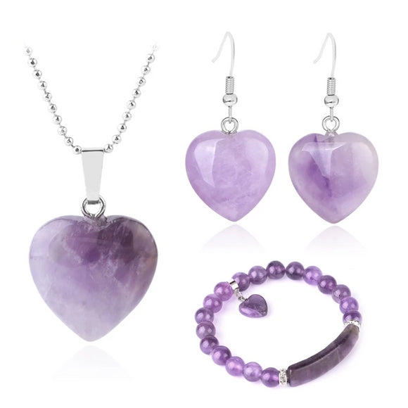 Women's Amethyst Love Heart Jewelry Set - little-darling-fashion-online