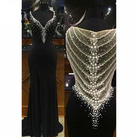 Illusion Long Black Mermaid Prom Dresses with Pearls - little-darling-fashion-online