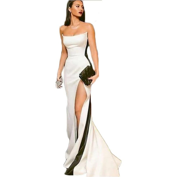 Sheath Satin Women's Black and White Prom Dress