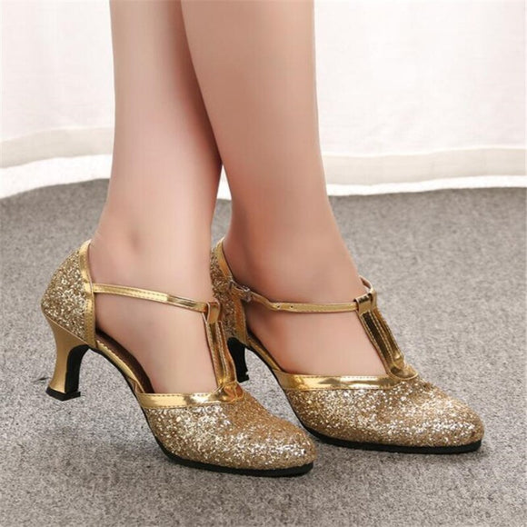 Women's Golden/Silver Latin Dance Shoes Low/High Heels by PickAProduct