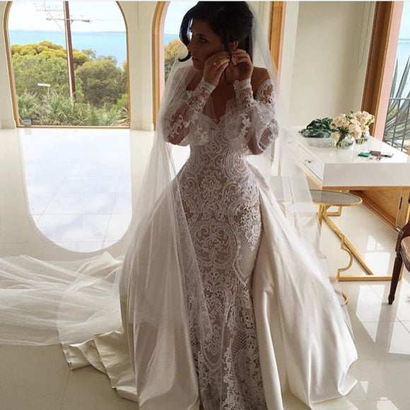 Vintage Lace Applique Mermaid Wedding Dresses 2019 - little-darling-fashion-online