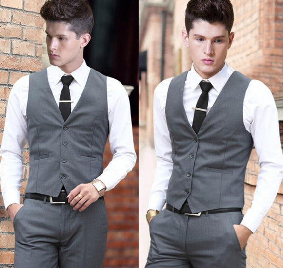 Mens Gray Vintage Single Breasted Wedding Waistcoat - little-darling-fashion-online
