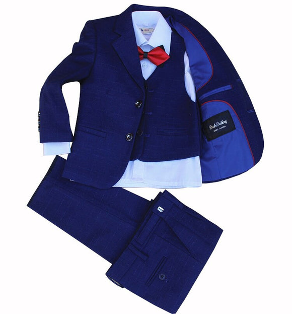 Boys Clothing Set 4 Pieces Jacket+Vest+Pants+Bow Tie - little-darling-fashion-online