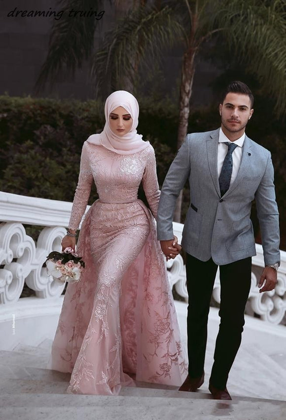Muslim Style Mermaid Pink Wedding Dresses with Hijab - little-darling-fashion-online